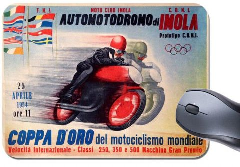 Imola Motorcycle Race Vintage Poster Mouse Mat. Motorbike Mouse Pad Italian Grand Prix